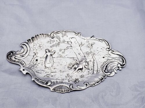 Vintage Silver Card Tray w/ Village Life Scenes Possibly English Sterling 10502
