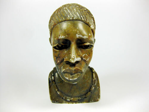 GENUINE VINTAGE AFRICAN HANDCRAFTED MARBLE STONE WOMAN BUST / SOLD AS IS