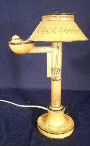 VINTAGE EARLY 20th CENTURY YELLOW FRENCH TOLE LAMP