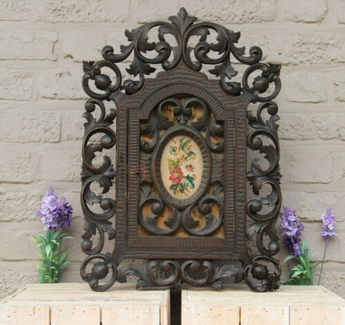 Antique german black forest wood carved apothecary wall cabinet medaillon floral