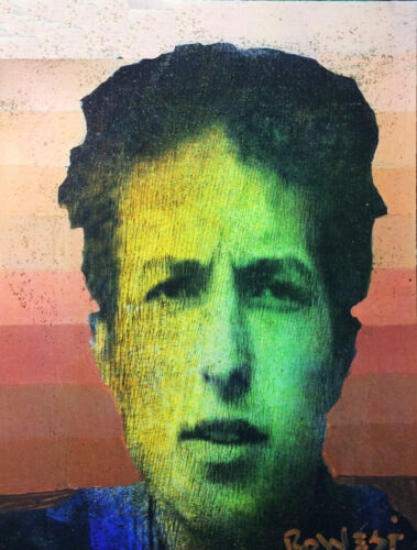 Bob Dylan.  An Original Painting  By Ro West. W/COA