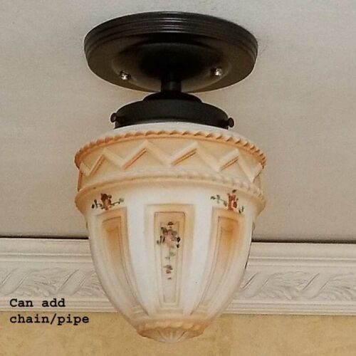 392z Vintage antique Glass Shade Ceiling Light Fixture hall entry porch