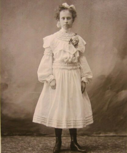 Victorian Antique Cabinet Card Photo of a Young Girl's Confirmation