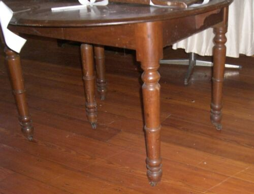 Antique  Wood Table  ROUND Turned Legs -Extension Leaves