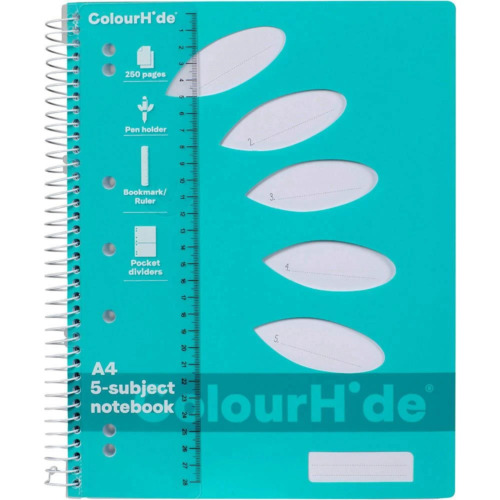 NEW Colourhide 5-Subject Section Notebook 250 Page A4 Aqua Blue