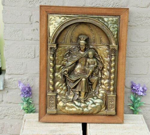 Religious French copper relief Madonna with child framed wall plaque