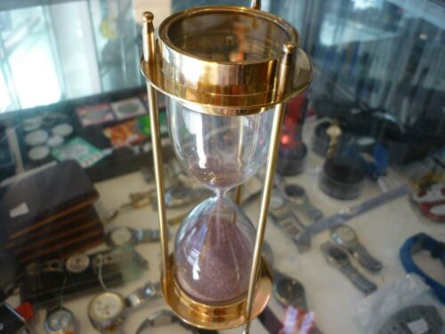 REPLICA VINTAGE NAUTICAL BRASS SAND TIMER HOURGLASS WITH COMPASS - AU STOCK !