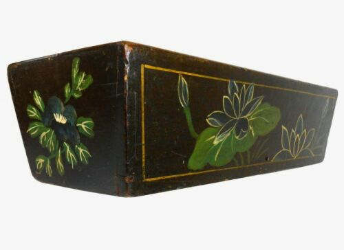 LATE 19TH C AMERICAN ANTIQUE ENAMEL PAINTED VICTORIAN FLOWER BOX, W/SLOPED SIDES