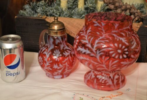 Lovely Fenton Combo Cranberry Daisy & Fern Syrup & Apothecary Jar (L.G. Wright)