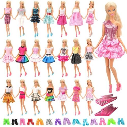 60pcs Barbie Doll Dresses Clothes Accessories INCLUDING 20 HIGH QUALITY DRESSES <br/> POSTED UK ROYAL MAIL 1ST CLASS  DELIVERED WITHIN 48 HRS
