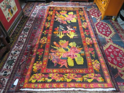 "4'5"" x8' ANTIQUE CAUCASIAN KARABAUGH PICTORIAL ORIENTAL RUG"