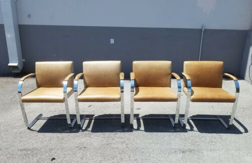 4 VINTAGE CHROMED STAINLESS STEEL BRNO  STYLE LEATHER ARM CHAIRS