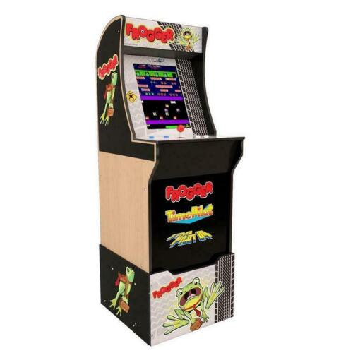 Frogger Arcade1Up Retro Gaming Cabinet With Light-Up Marquee and Matching Riser