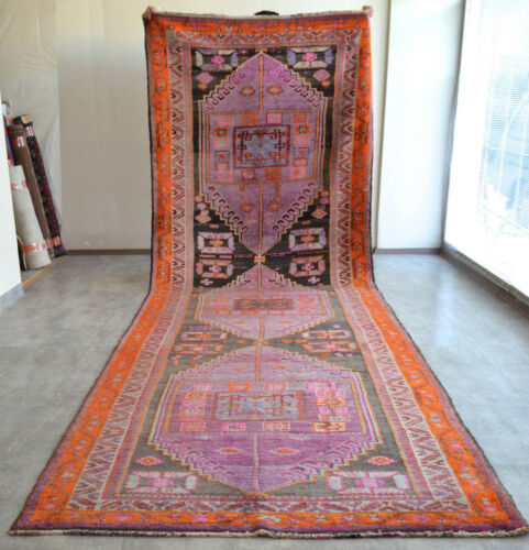 61″ x 194″ Hand Knotted Area Rug Turkish Tribal Large Runner Rug PURPLE 5′x16′2″