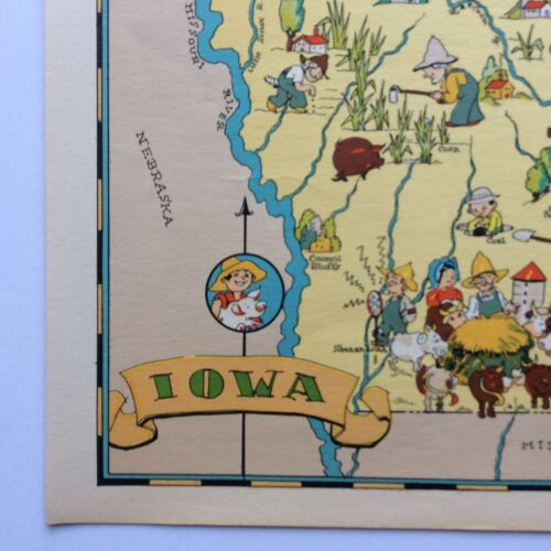 Ruth Taylor ORIGINAL Cartoon Map IOWA 1935 Color Litho HAWKEYES Des Moines Exc