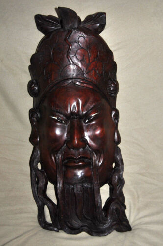 """ANTIQUE 19C CHINESE ROSEWOOD HAND CARVED MASK OF IMPEROR WITH GLASS EYES 23""""H"""