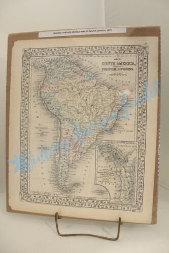ORIGINAL ANTIQUE MAP SOUTH AMERICA 1872 SHOWING POLITICAL DIVISIONS OVERALL SIZE