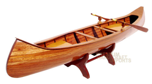 """24"""" Handcrafted Indian Girl Canoe Full Assembled Display Model"""