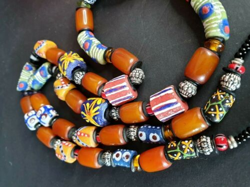 Old North African Handmade Glass Beaded Necklace beautiful collection and accent