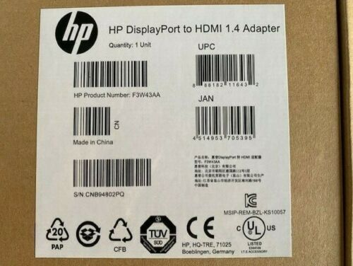 8 x HP F3W43AA DisplayPort Male to HDMI Female Adapter SELLING IN ONE LOT