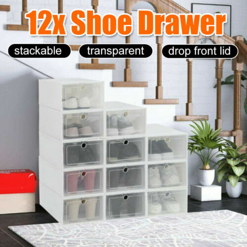 12x Stackable Transparent Shoe Drawer Storage Organizer Box Boxes Household AU