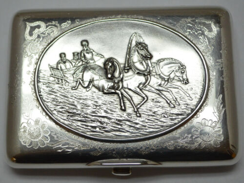 Russian Silver Cigarette Case engraved with picture of TROIKA & Prince D.Donskoy