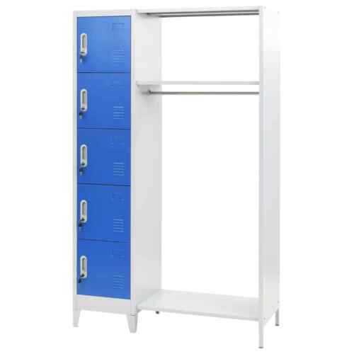 5-Doors Locker Cabinet With Coat Rack Gym Sports Office Changing Room Storage