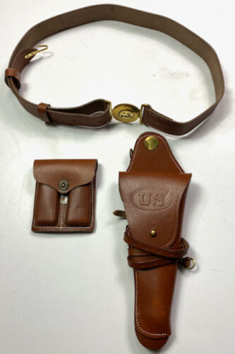WWI & WWII M1912 LEATHER OFFICER .45 PISTOL BELT HOLSTER & AMMO POUCHUnited States - 156413