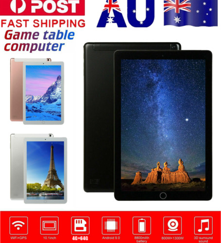 Android 9.0 10.1 in Tablet PC HD 4+64GB Quad-core WiFi Dual SIM Cam G-sensor AU