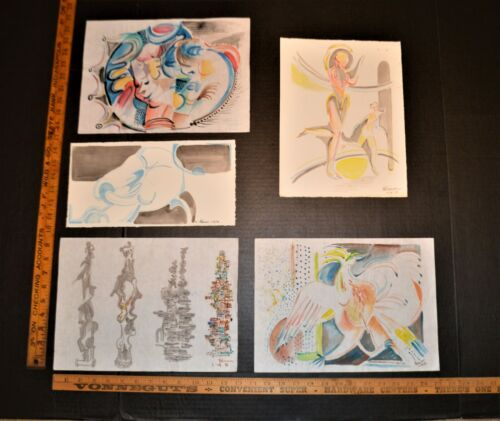 5 Nice Water Color Works Noted Indiana Artist Robert Lohman Signed Dated 1976-78