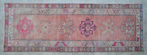 3x8 Rug Runner Turkish Hand Knotted Low Pile SHORT Runner Actual 2.10 x 8.2 ft