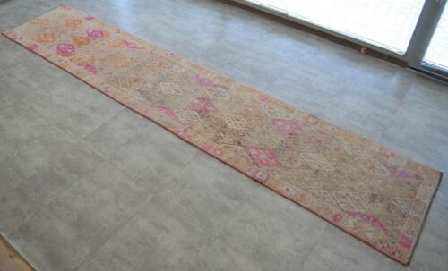3x14 Rug Runner Kurdish Rug Hand Made Low Pile Muted Rug Actual 2.9x13.11 ft