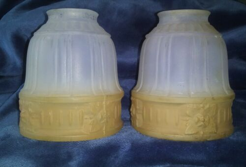 2 ANTIQUE FROSTED GLASS SHADES CEILING PENDANT LIGHT LAMP ~ Matching Set of 2