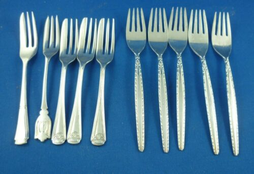10  x  ASSORTED CAKE FORKS & DESSERT FORKS SILVER PLATE  E.P.N.S  A1