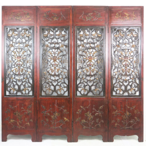"""4 Carved Antique Chinese Folding Doors Room Divider 21"""" x 82"""" Tall each"""