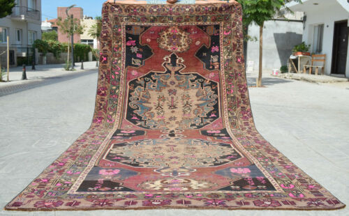 6x12 Rug Hand Knotted Area Rug Turkish Tribal Large Runner Rug actual 86″ x 151″