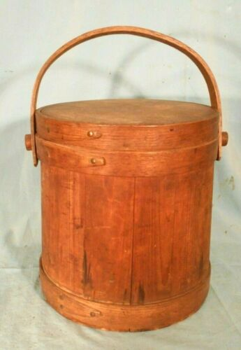 ANTIQUE 19th CENTURY SHAKER FINGER BANDED COVERED FIRKIN