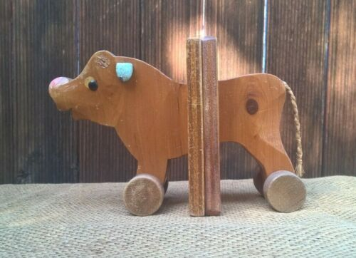 Vintage Mid-Century Timber Trojan Bull Bookends