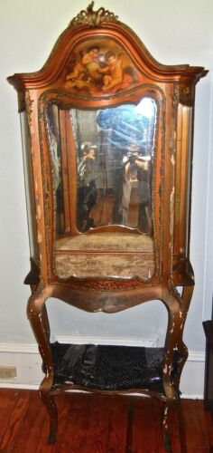 Vernis Martin vitrine curio cabinet  French Cupid  painting  19th c.
