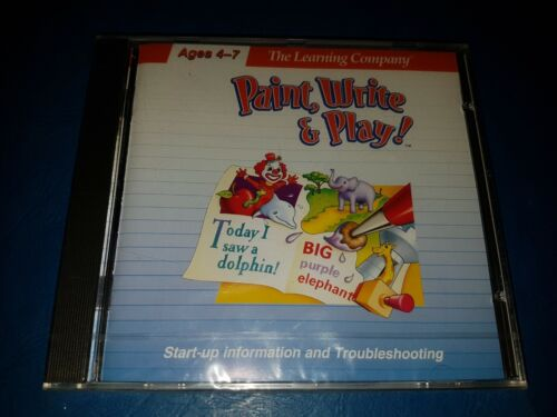 The Learning Company: PAINT, WRITE & PLAY PC 1996 Softkey CD New SEALED