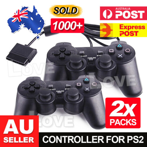 2x Dual Shock Gamepad Joystick Wired Game for Playstation 2 PS2 Controller