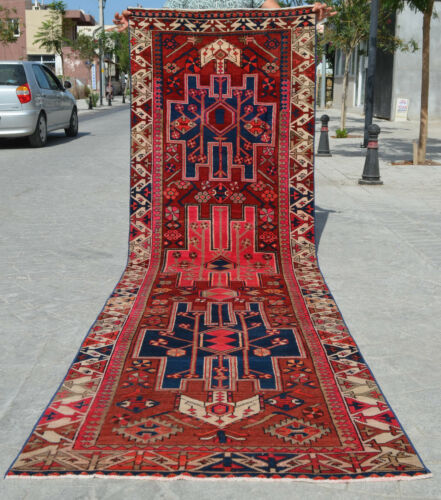 """3x11 Runner Rug Caucasian Runner Rug Hand Knotted Low Pile Runner actual 37x129"""""""