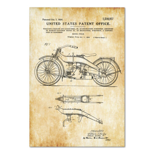 Harley Davidson Motorcycle 1924 Patent Poster - High Quality Prints