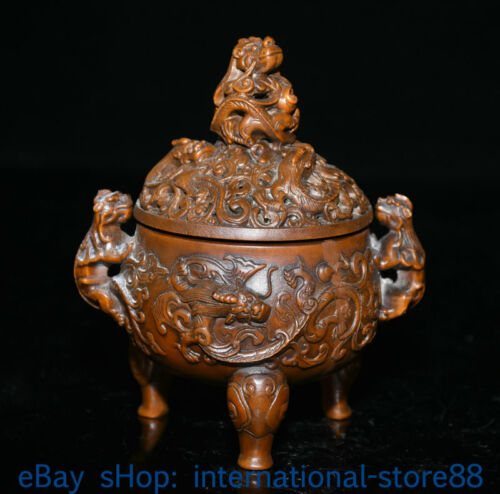 """5"""" Old Chinese Boxwood Hand-carved Feng Shui Dragon Beast Ear Incense Burners"""