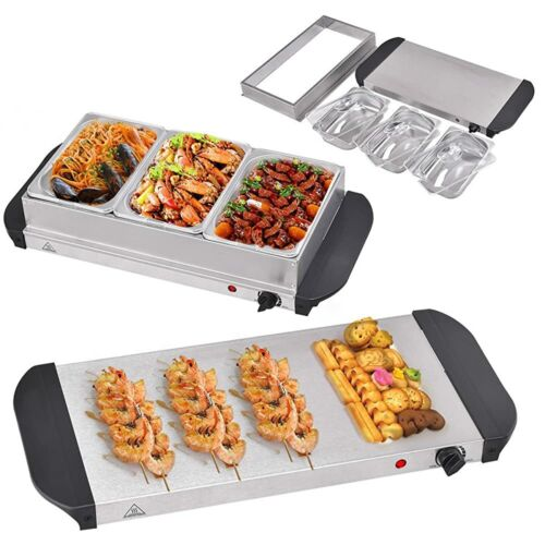 Food Warmer Buffet Electric Server Large Bain Marie Stainless Steel 2.5L x3 Tray