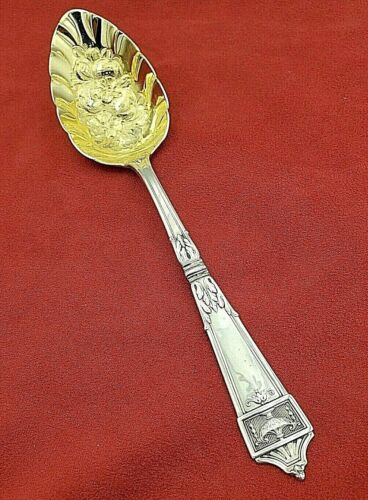 Lansdowne by Gorham Sterling Berry Spoon with Fruit Design in Bowl #11058