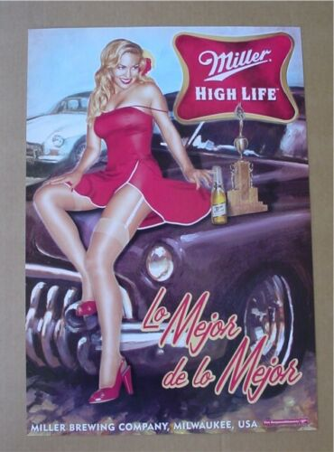 Miller High Life Sexy Girl best of show trophy classic car beer poster