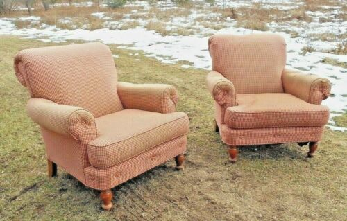 LARGE PAIR OF MID CENTURY OVERSTUFFED REGENCY LIBRARY PUB ARMCHAIRS