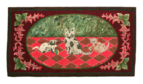 Antique Hand Hooked Rug, Exceptional, Dog and Cats, circa 1930