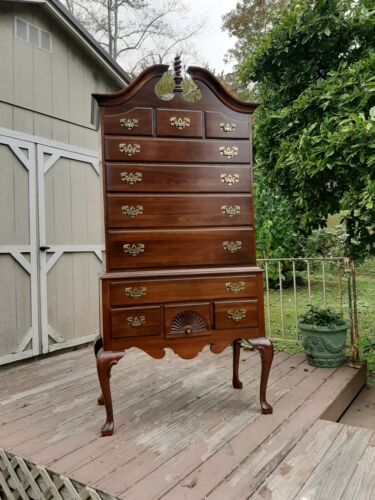 Vintage 1970's Ethan Allen Solid Cherry Georgian Court Highboy Chest of Drawers
